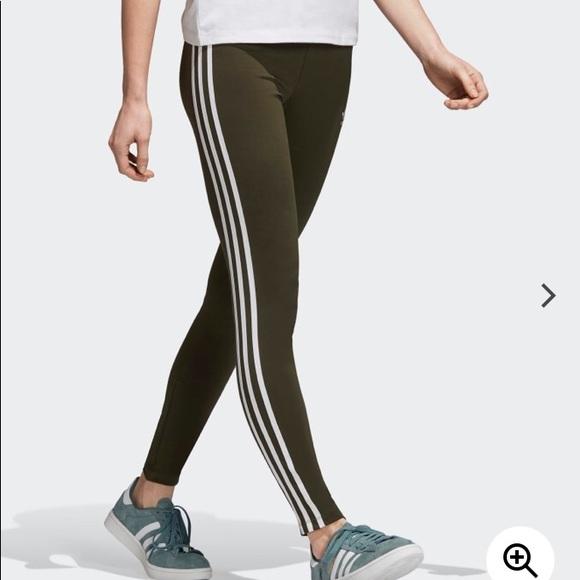 67a8713ad76fd adidas Pants | Womens 3 Stripe Tight Olive Green Leggings | Poshmark